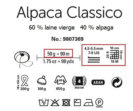 Laine Alpaca Classico 60 % laine vierge 40 % alpaga