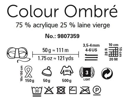 Laine Schachnemayr Colour Ombré 75 % acrylique 25 % laine vierge